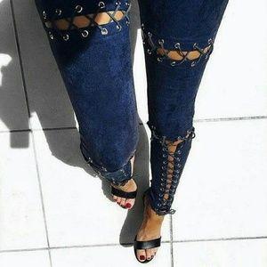 Pants - Faux Suede Peek-a-Boo, Lace-Up Pencil Pants